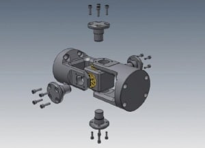 3D CAD model of an exploded universal joint