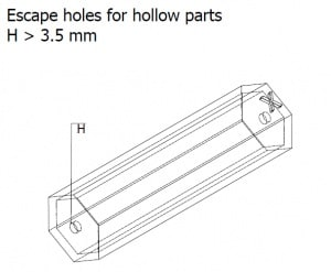 Escape holes for hollow parts